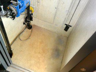 Auf 35 cm reduzierte Schachtgrube bei einem Aufzug der Serie 751 © Klaus Steinweg