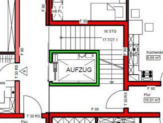 Aufzugsschacht für Serie 1150 Tragenaufzug nach Optimierung: 1.600 mm x 2.400 mm. Nutzflächengewinn: 2,35 m² pro Etage